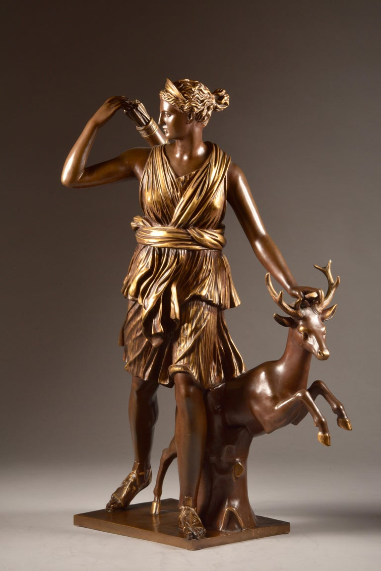 Large Sculpture of Diana the Huntress, F. Barbedienne & A. Collas, 19th Century For Sale 13