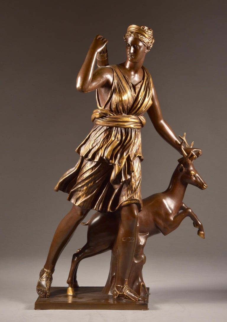 Neoclassical Large Sculpture of Diana the Huntress, F. Barbedienne & A. Collas, 19th Century For Sale