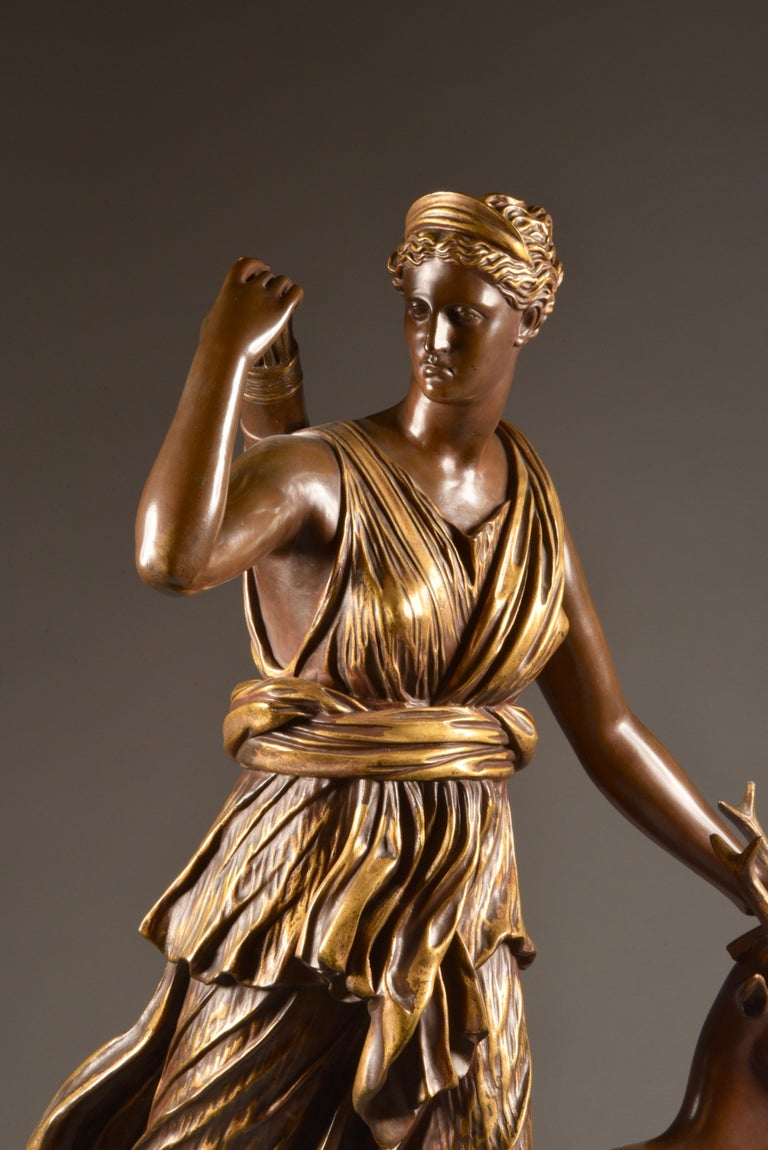 Mid-19th Century Large Sculpture of Diana the Huntress, F. Barbedienne & A. Collas, 19th Century For Sale