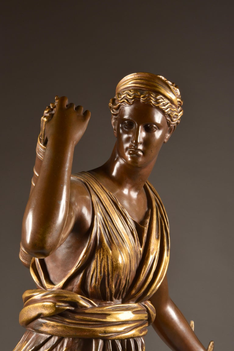 Bronze Large Sculpture of Diana the Huntress, F. Barbedienne & A. Collas, 19th Century For Sale