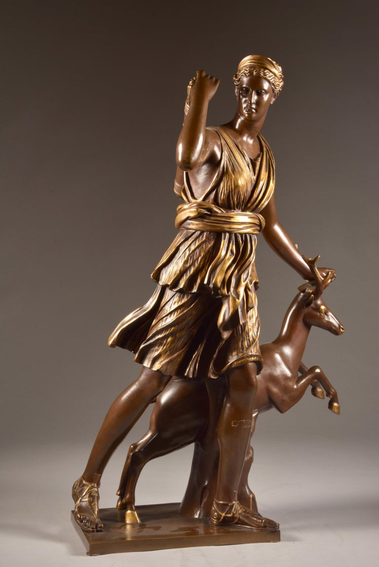 Large Sculpture of Diana the Huntress, F. Barbedienne & A. Collas, 19th Century For Sale 2