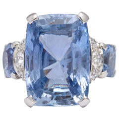 Large Seamen Schepps Ceylon Sapphire Unheated Cushion Cut Gold Diamond Ring