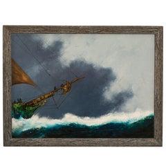 Large Seascape Oil Painting, Vintage Sail Boat, Marine, Art, Original
