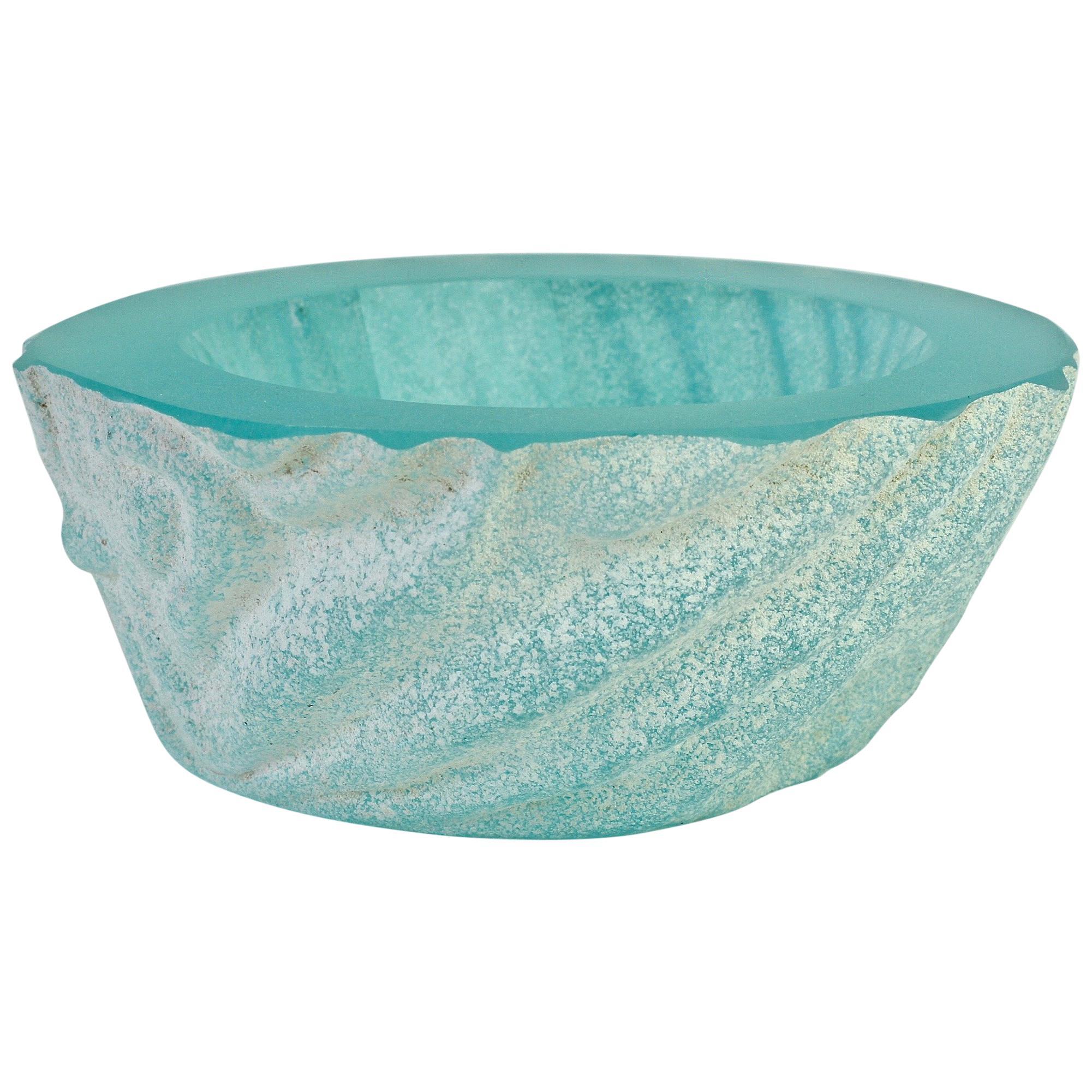 Large Seguso Blue 'a Scavo' Murano Glass Bowl Attributed to Maurizio Albarelli