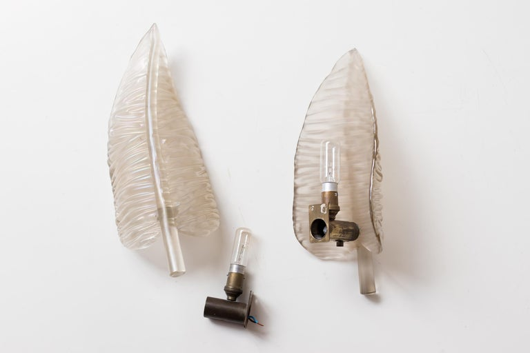Large Seguso Feather Sconces For Sale 3