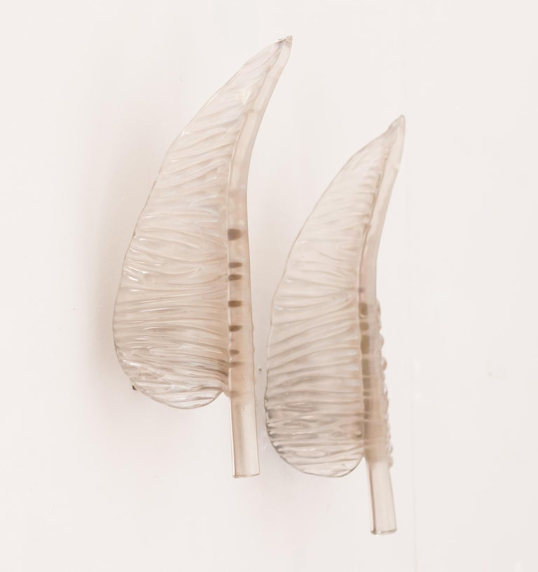 Graceful original pair of large glass feather sconces by Seguso Murano.