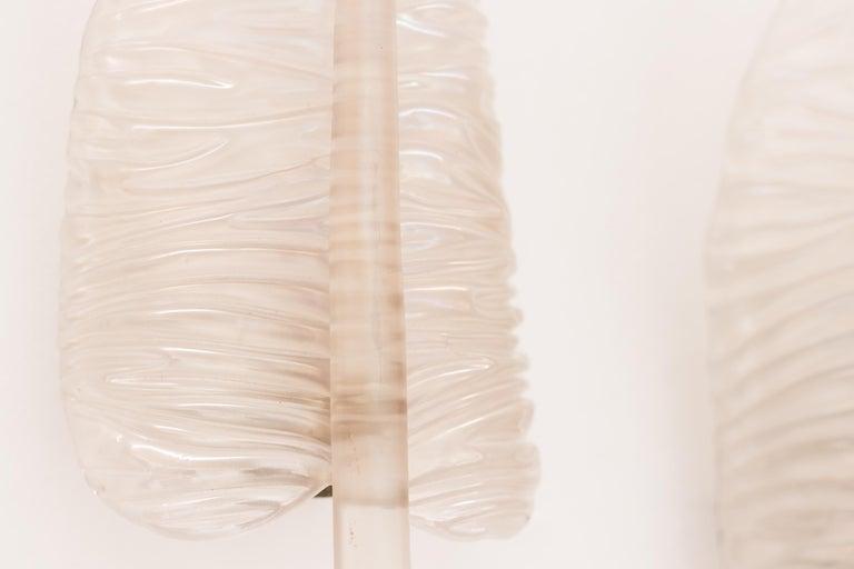 Italian Large Seguso Feather Sconces For Sale