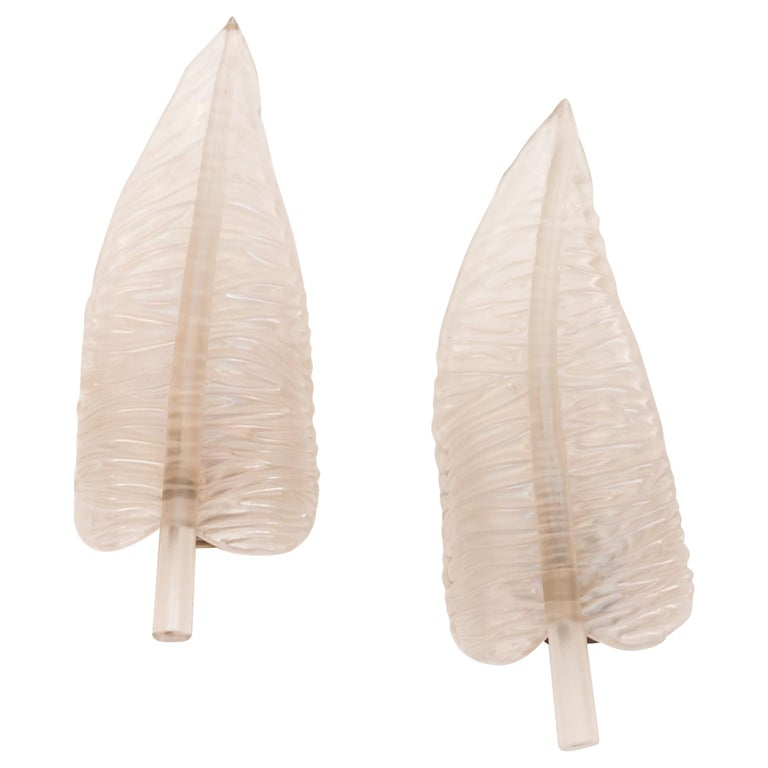 Large Seguso Feather Sconces For Sale