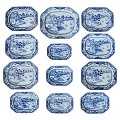 Large Selection of Twelve Chinese 18th Century Blue and White Nanking Platers