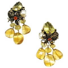 Large semi precious 'floral' drop earrings, Iradj Moini, USA, 1980s