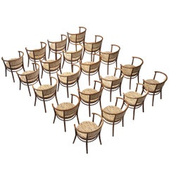 Large Set of 20 Armchairs with Beige Patterned Upholstery by Ton, 1960s