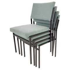 Large Set '50x' Vintage Metal Stacking Chairs, Attrb. Gijs Van Der Sluis, 1960s