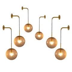 Large Set Brass and Smoked Glass Wall Lights