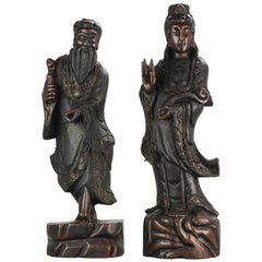 Large Set circa 1900 Chinese Carved Wood Statues Gilded Immortal & Guanyin