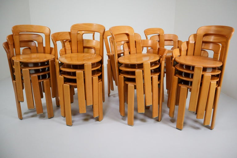 Large set Chairs by Bruno Rey for Kusch and Co., Switzerland, 1970s For Sale 3