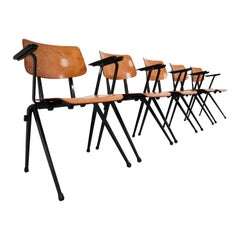 "Large Set Industrial Plywood ""Galvanitas S17"" Chairs, The Netherlands, 1960s"