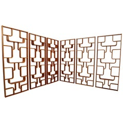 Large Set Mahogany Color Midcentury Room Dividers in Bentwood, circa 1960s