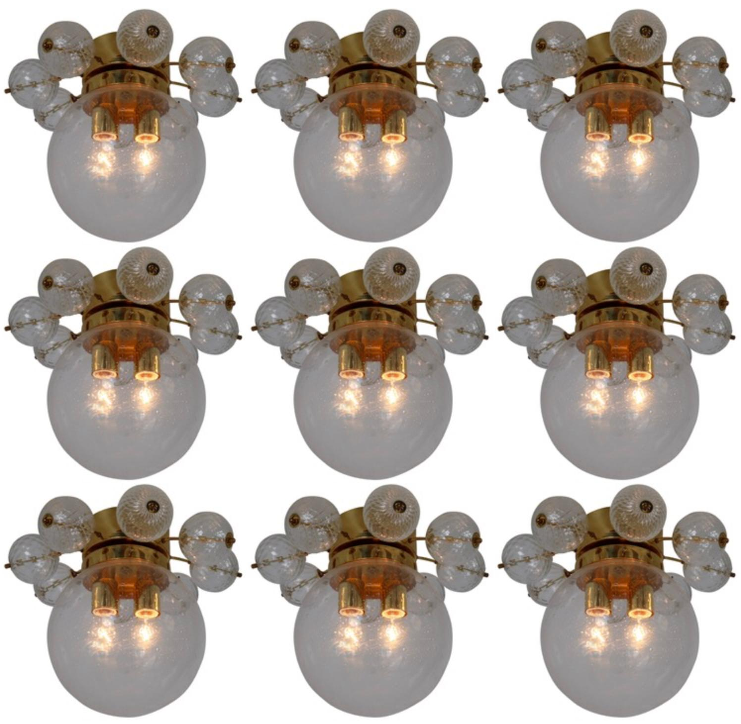 Large Set Midcentury Brass Ceiling Lamp-Chandeliers with Hand Blown Glass, 1960s