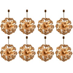 Large set Midcentury Brass Floral Chandeliers in the Style of Emil Stejnar