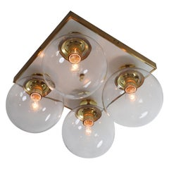 Large Set Midcentury Ceiling Brass Chandelier with Four Transparent Blown Glass