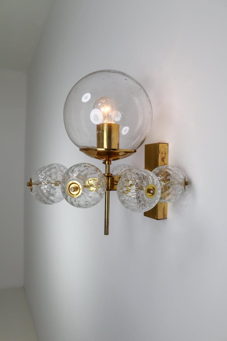 Mid-Century Modern Large Set Midcentury Hotel Wall Chandeliers with Brass Fixture, Europe 1970s For Sale