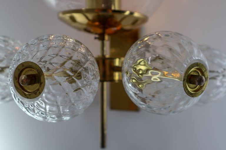 Large Set Midcentury Hotel Wall Chandeliers with Brass Fixture, Europe 1970s For Sale 1