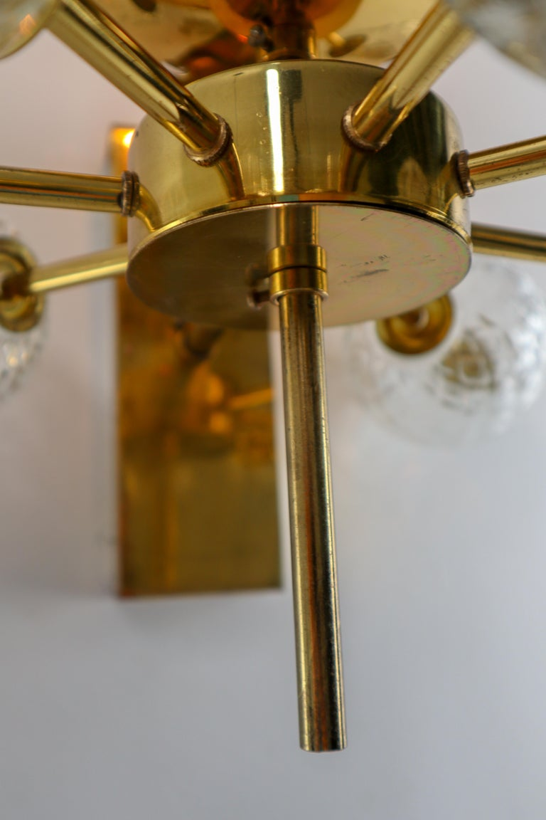 Large Set Midcentury Hotel Wall Chandeliers with Brass Fixture, Europe 1970s For Sale 2