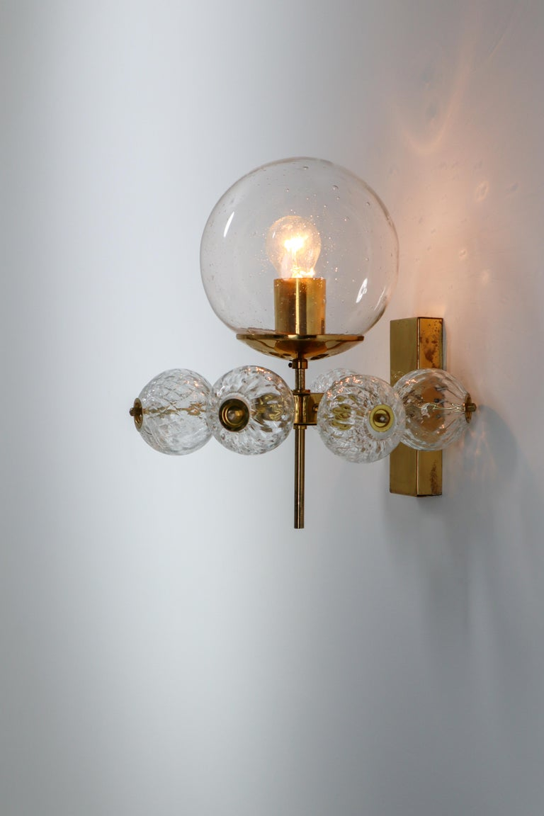 Large Set Midcentury Hotel Wall Chandeliers with Brass Fixture, Europe 1970s For Sale 3