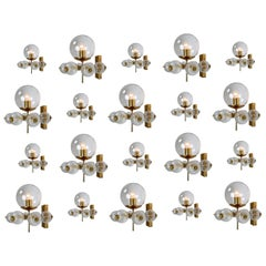 Large Set Midcentury Hotel Wall Chandeliers with Brass Fixture, Europe 1970s