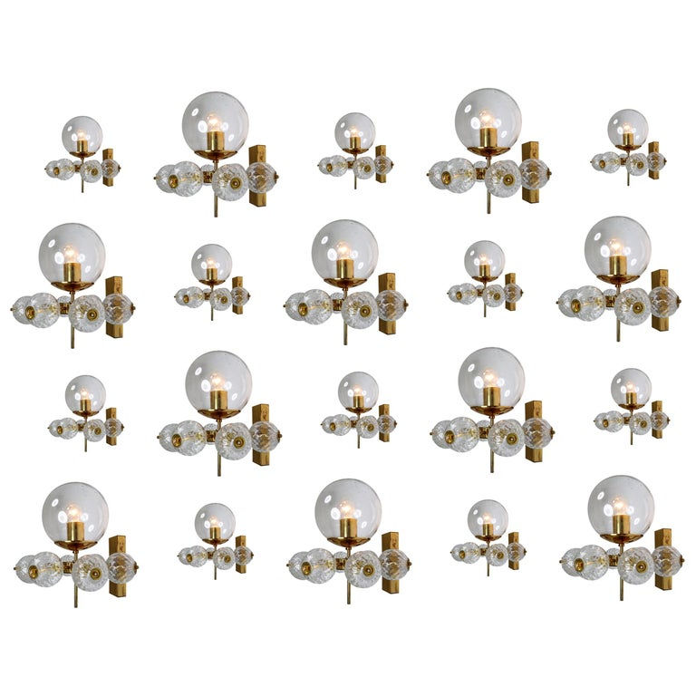 Large Set Midcentury Hotel Wall Chandeliers with Brass Fixture, Europe 1970s For Sale