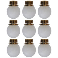 Large Set of Midcentury Lights with Brass Frame and White Pearl Glass Globes