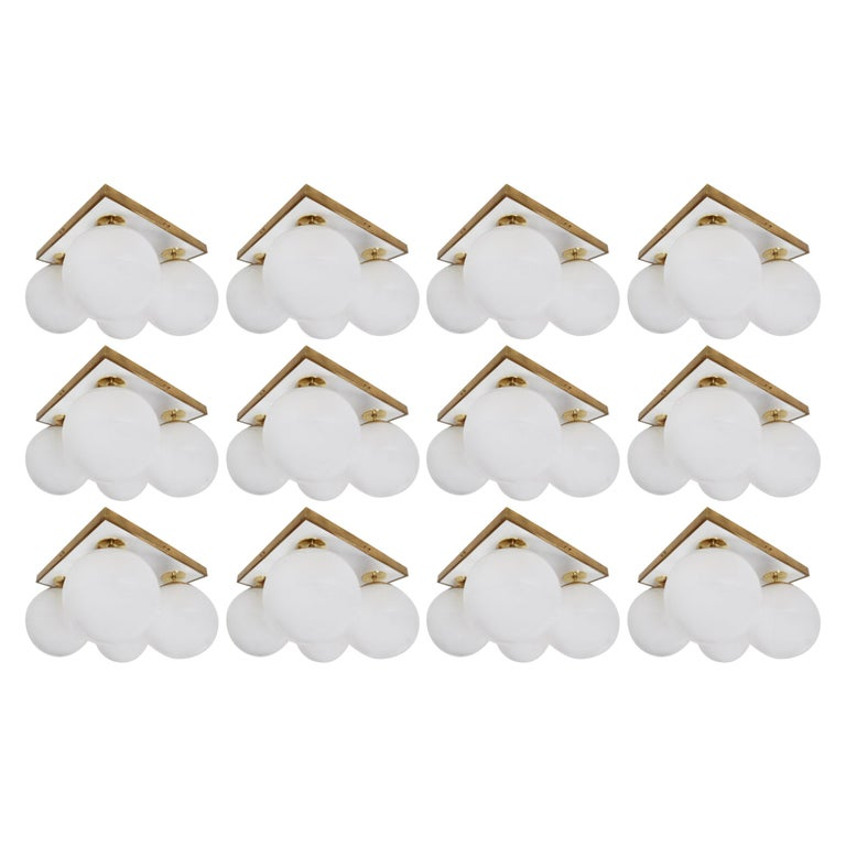 Set of Mid-Century Modern Ceiling Lights with Four Pearl White Glass Globes For Sale