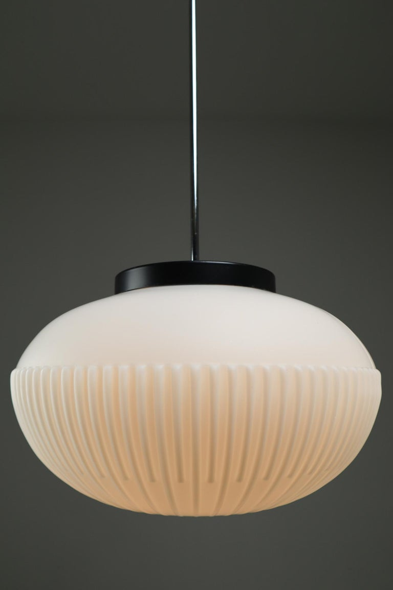 Large Set of Midcentury Opaline Glass Pendants, Europe, 1960s For Sale 2