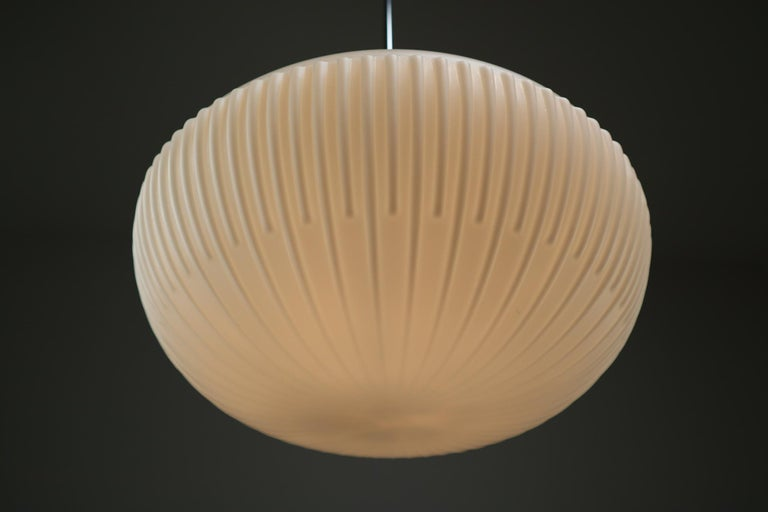 Large Set of Midcentury Opaline Glass Pendants, Europe, 1960s For Sale 3