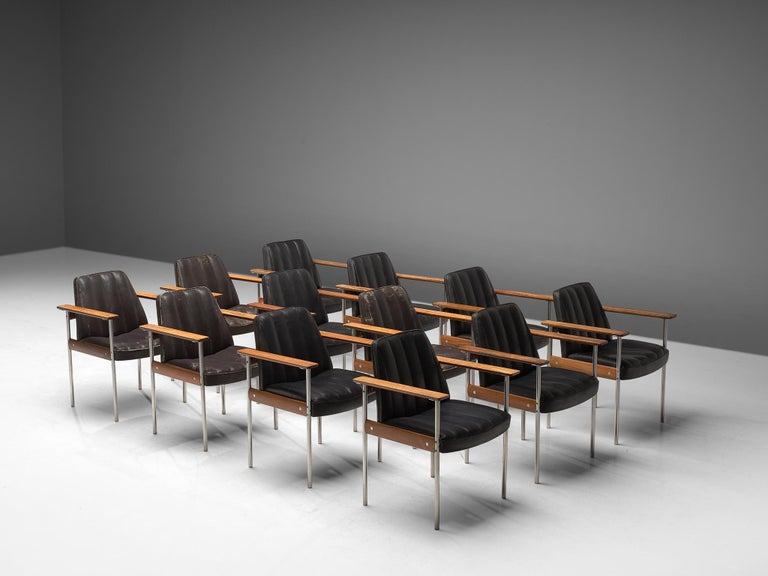 Scandinavian Modern Large Set of 12 Armchairs in Rosewood by Sven Ivar Dysthe For Sale