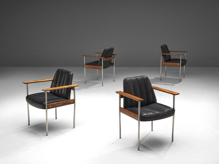 Leather Large Set of 12 Armchairs in Rosewood by Sven Ivar Dysthe For Sale
