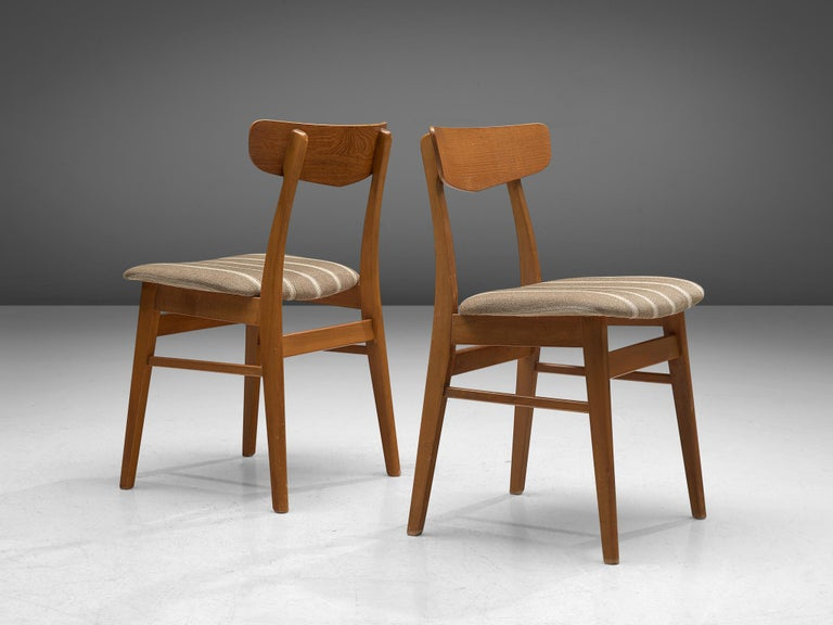 Fabric Large Set of 12 Dining Chairs in Teak, Denmark, 1960s For Sale