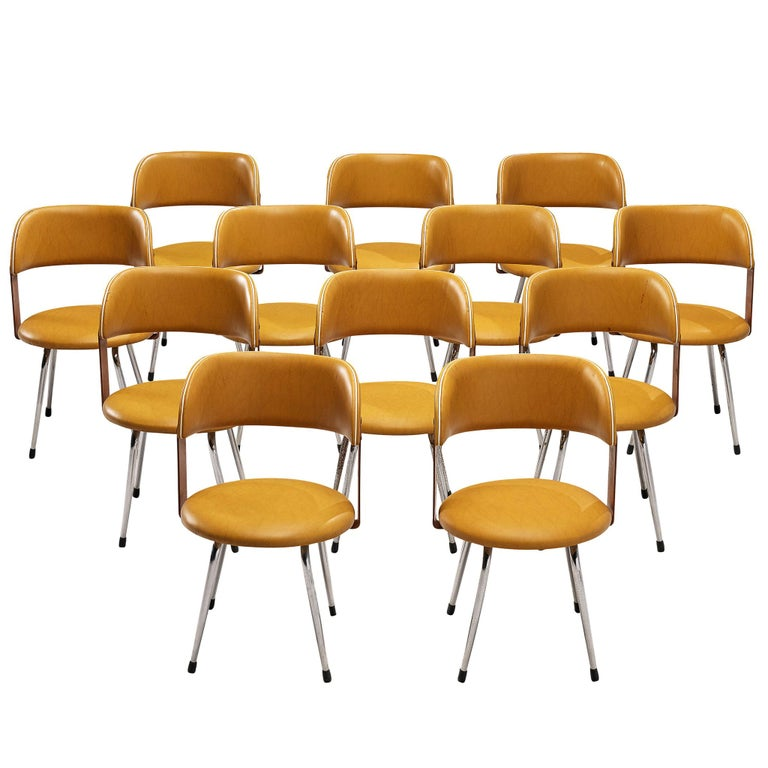 Large Set of 12 Italian Dining Chairs in Leatherette and Metal, 1970s For Sale