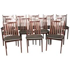 Large Set of 12 Mahogany Mid-Century Modern Dining Chairs, circa 1960
