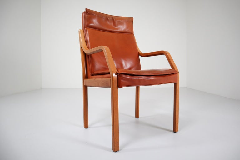 Large set of 16 modern armchairs, in covered in cognac leather by Walter Knoll Germany 1970s. These armchairs-conference chairs will contribute to a luxurious character of the interior also this set is a great choice for a large interior project,