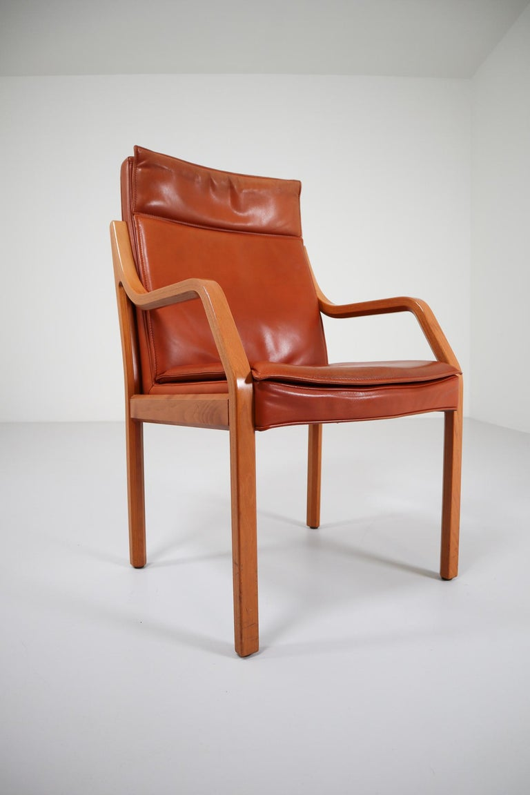 Mid-Century Modern Large Set of 16 Modern Armchairs Covered in Cognac Leather by Walter Knoll 1970s For Sale
