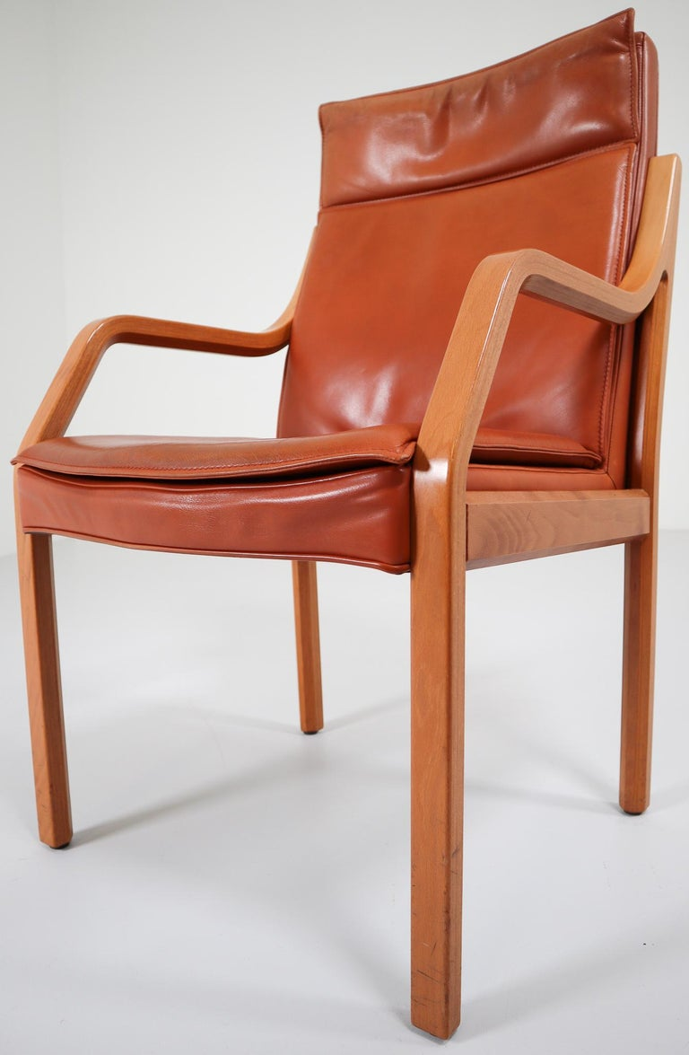 German Large Set of 16 Modern Armchairs Covered in Cognac Leather by Walter Knoll 1970s For Sale