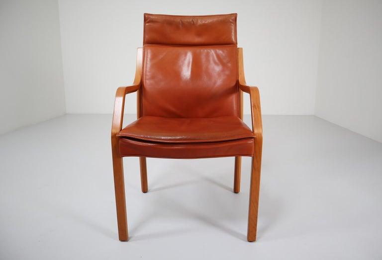 Large Set of 16 Modern Armchairs Covered in Cognac Leather by Walter Knoll 1970s In Good Condition For Sale In Almelo, NL