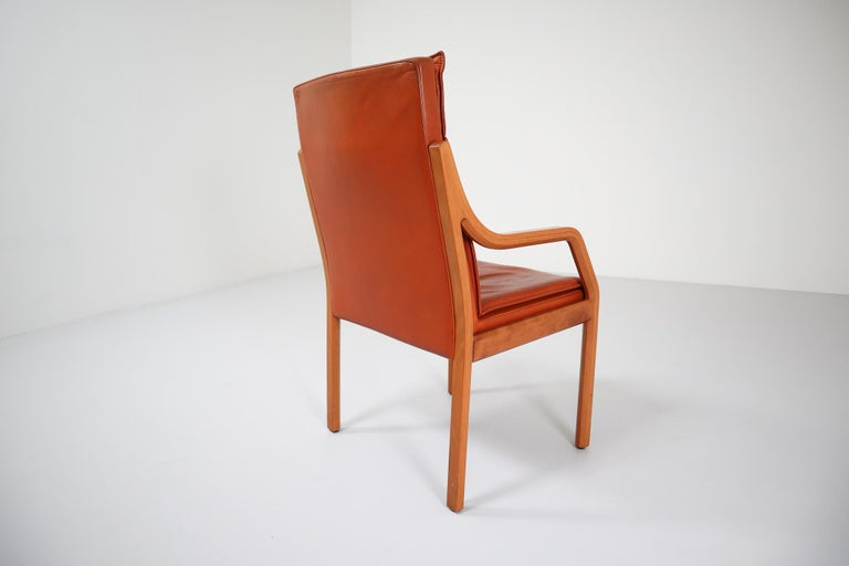 Large Set of 16 Modern Armchairs Covered in Cognac Leather by Walter Knoll 1970s For Sale 1