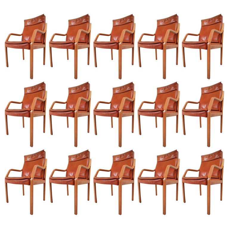 Large Set of 16 Modern Armchairs Covered in Cognac Leather by Walter Knoll 1970s For Sale