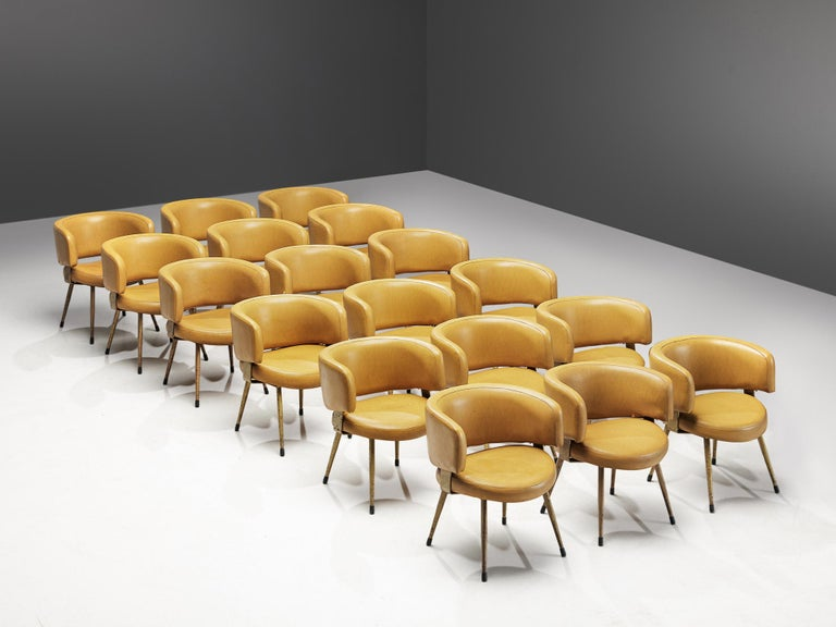 Large set of armchairs, leatherette and metal, Italy, 1970s