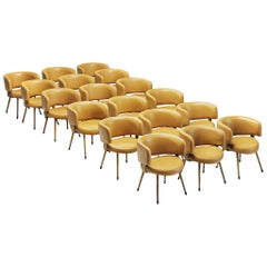 Large Set of 18 Italian Armchairs in Yellow Leatherette
