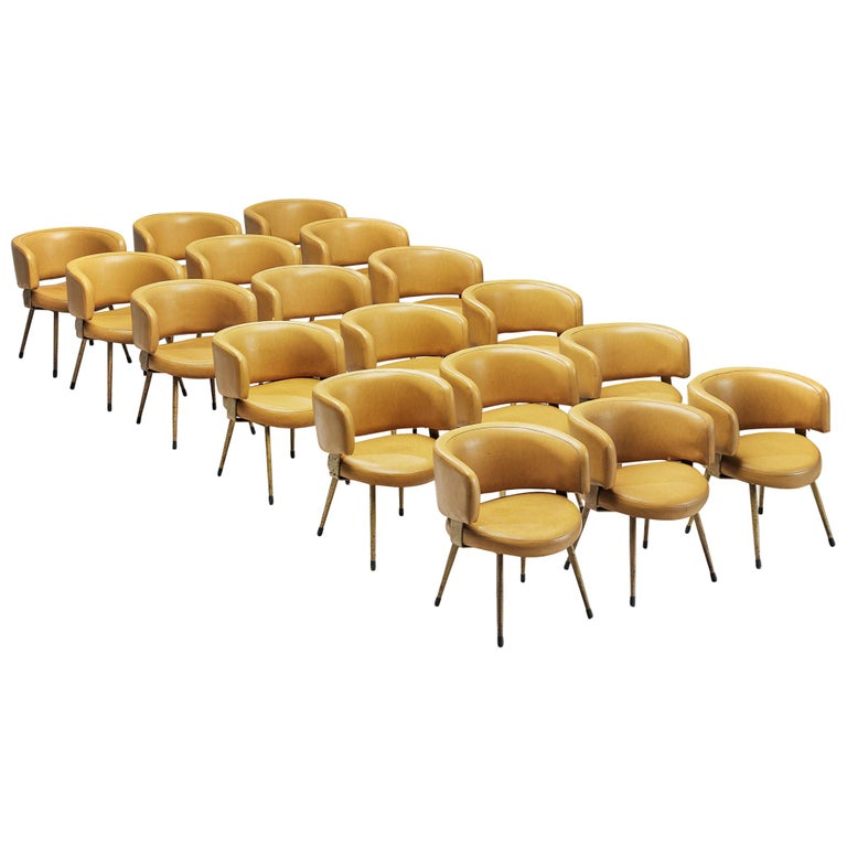 Large Set of 18 Italian Armchairs in Yellow Leatherette For Sale