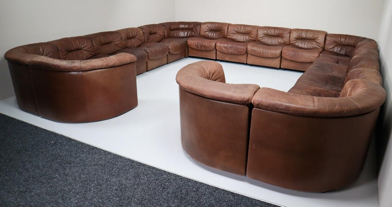 Late 20th Century Large Set of 19 Elements Patinated Leather De Sede DS 14 Modular Sofa, 1970s For Sale