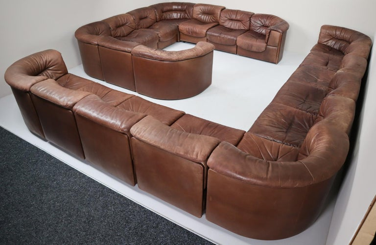 Large Set of 19 Elements Patinated Leather De Sede DS 14 Modular Sofa, 1970s For Sale 2